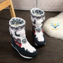 Women winter boots Lady warm shoes snow boot 30% natural wool insole cow suede toe plus size 35- 41 Christmas Deer free shipping