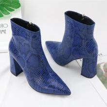 Print Snake Pu Women Ankle Boots Zip Pointed Toe Footwear Thick High Heels Female Boot Party Shoes Women 2018 New Winter
