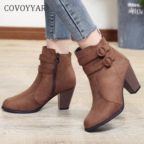 COVOYYAR 2019 Double Buckle Woman Boots Autumn Winter Shoes Women Block Heel Flock Short Ankle Boots Lady Casual Shoes WBS006