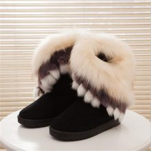 Women Flats Ankle Snow Boots Fur Boots Winter Warm Snow Shoes woman Round-toe Female Flock Leather Women Shoes