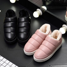 Women Winter Snow Ankle Boots Unisex Couples Men Warm Flats Pu Leather Waterproof House Boots Platform Shoes Botas Mujer booties