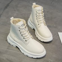 Winter White Boots Women Fashion Platform Ankle Boots Lace Up Combat Boots Snow Shoes Woman Warm Plush 2019 New Winter Boots