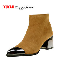 Square Heel Boots Women Winter Chelsea Boots Warm Shoes Pointed toe Sexy Ladies High Heels Boots Women's Ankle Botas A350