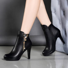 YOUYEDIAN Boots Women 2018 Autumn Ankle Boots For Women Thin Heel Zipper Casual Female Shoes Leather Boots Botas Mujer