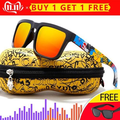 KDEAM Eye-catching Function Polarized Sunglasses For Men Brand Graffiti Glasses Leg Sun Glasses UV Goggles Male Gafas de sol XH2