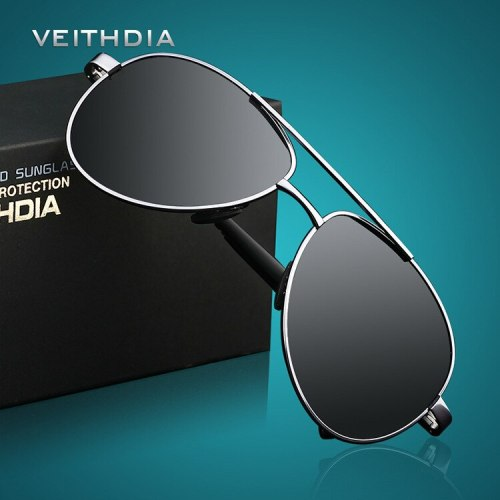 2019 VEITHDIA UV400 Pilot Yurt Sun Glasses Men Polarized Sunglasses Brand Logo Design Driving Glasses Goggles Oculos de sol 1306