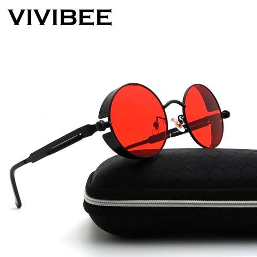 Vintage Steampunk Sunglasses Men Round Punk Alloy Metal Hip pop Red Sun Glasses Women 2019 Goggles Men Gothic Style Shades