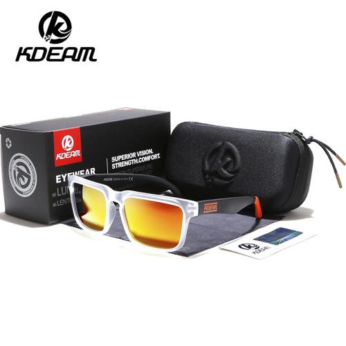 KDEAM Brand Design Polarized Sunglasses Men Driver Shades Male Vintage Sun Glasses For Men Spuare Mirror UV400 Oculos With Box