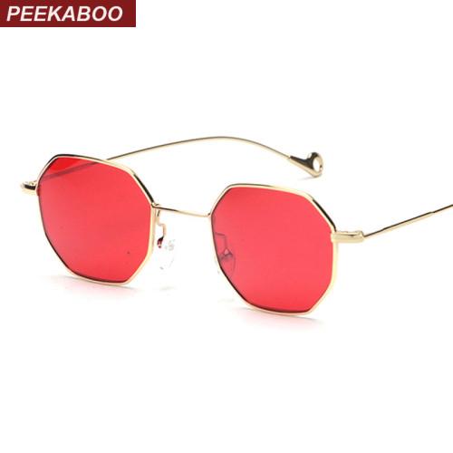 Peekaboo blue yellow red tinted sunglasses women small frame polygon 2017 brand design vintage sun glasses for men retro