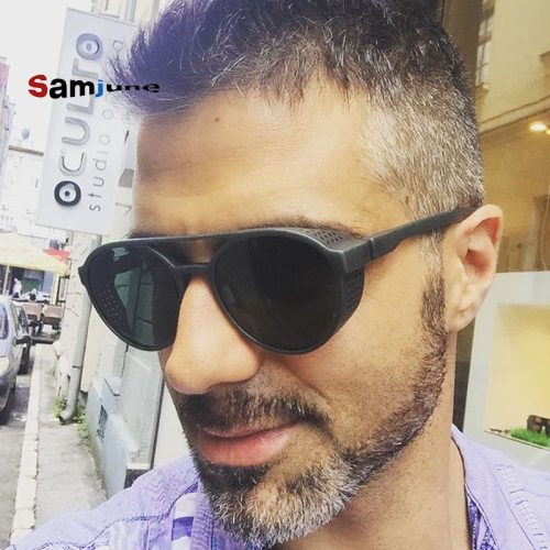 Samjune Steampunk Sunglasses Women Men Retro Goggles Round Flip Up Glasses steam punk Vintage Fashion Eyewear Oculos de sol