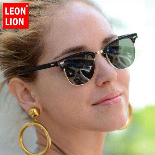 LEONLION Half Metal Sunglasses Men Women Brand Designer Glasses Mirror Sun Glasses Fashion Gafas Oculos De Sol Classic