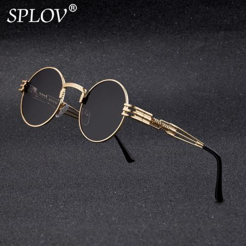 SPLOV New Fashion Retro Steampunk Round Metal Sunglasses for Men and Women Double Spring Leg Colorful Eyewear UV400