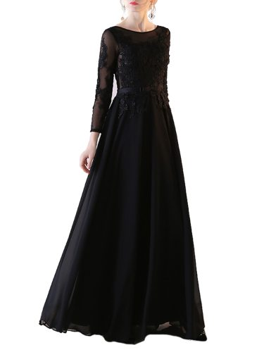 Women's Evening Dress Toast Fashionable Backless Lace Annual A Line Party Aline Three Quarters