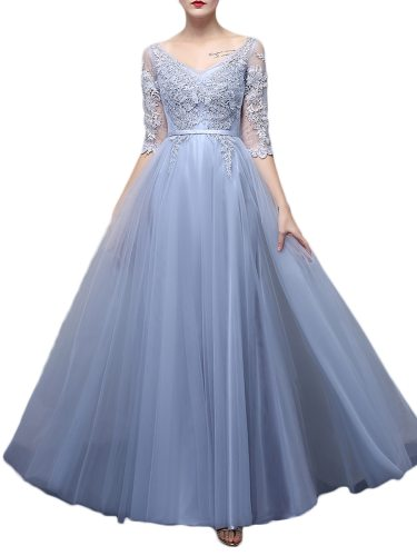 Women's Evening Dress long V Neck Appliques Sweet Evening Half Ball Gown Regular