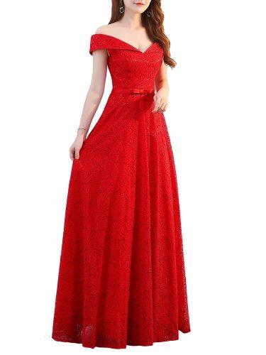 Women's Prom Dress Slash Neck Hollow Shoulder Elegant Maxi Long Aline Slim