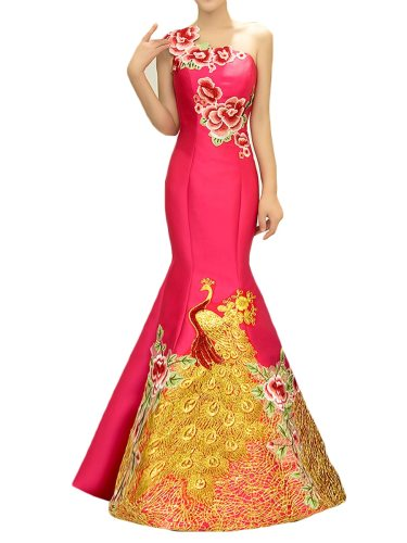 Women's Evening Dress Embroidery Mermaid Ladylike Maxi Trumpet/Mermaid One Shoulder Slim