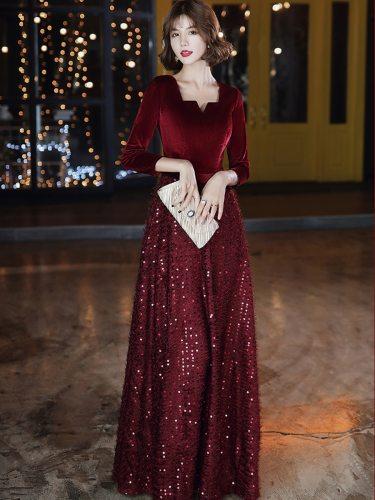 Women's Full Dress Sleeve Sequins Patchwork Evening Slim Maxi Mid Waist Three Quarters A Line Dress Deep V Neck