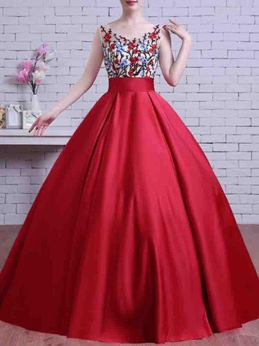Women's Applique Bandage A Line Dress Maxi Slim V Neck Bandeau Sleeveless Mid Waist