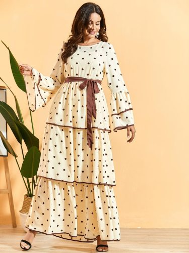 BNSQ Women's Flare Sleeve Patchwork Sweet Including Sash Crew Neck Maxi A Line Dress Long Sleeve Ruffles Polka Dot High Waist Celebrity&Elegant