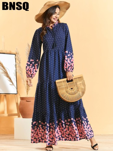 BNSQ Women' Polka Dot Long Sleeve Floral Print Maxi Stand Collar Slim A Line Dress Simple High Waist Tie Neck