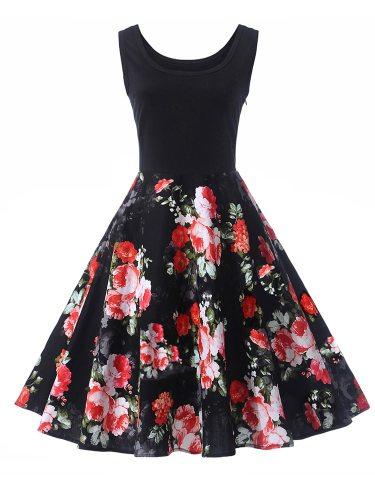 Women's Sleeveness Patchwork Tank Dress Sleeveless Mid Waist Midi Floral Print Celebrity&Elegant Crew Neck Slim