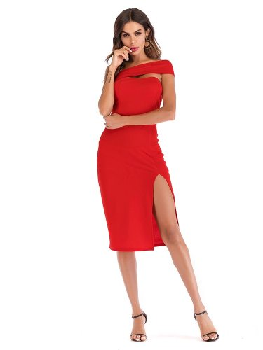 Women's Pencil Dress Skew Collar Split Solid Color Slim High Waist Tube Dress Midi Sexy
