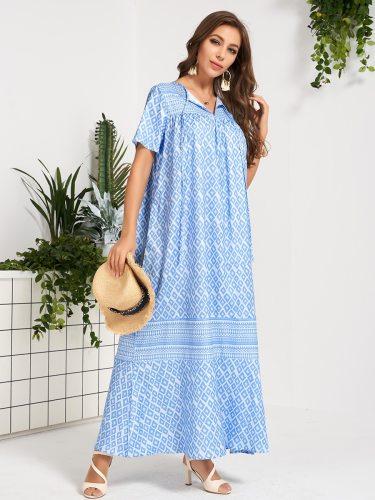Women's Shift Dress Floral Pattern Casual Short Sleeve Vintage Maxi Diamond Pattern Loose Mid Waist A Line Dress