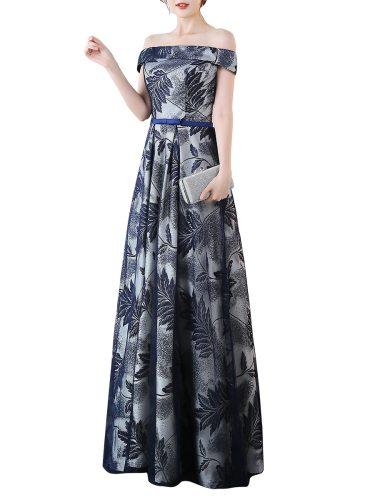 Women's Evening Dress Glamorous Leaf Pattern Off Shoulder Elegant Maxi Sleeveless Aline Slim