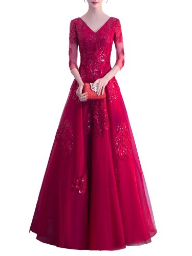 Women's Evening Dress Solid Color Lace Gauze Patchwork V Neck Three Quarters Sleeve Maxi Long