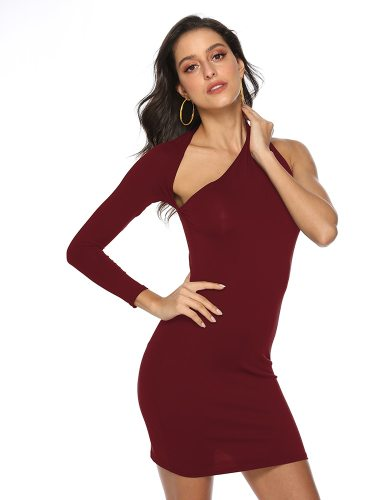 Women's Fashion Mini Casual Pencil Dress Solid Color Mid Waist Slim Sloping Neck Backless Long Sleeve