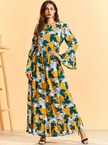 BNSQ Women's A Line Dress Leaf Print Flare Print Full Maxi Ruffles Long Sleeve Simple Tunic Dress Floral Print Crew Neck High Waist Slim