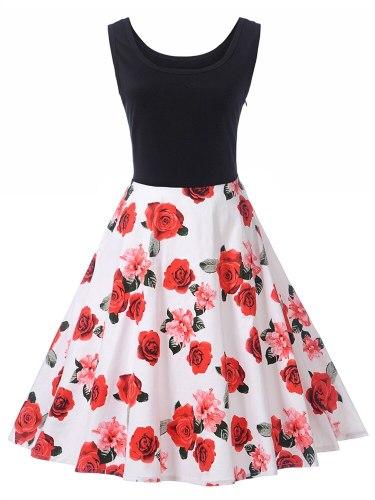 Women's Sleeveness Patchwork Sleeveless Zipper Top Fashion Crew Neck Midi Floral Print Tank Dress Slim Mid Waist