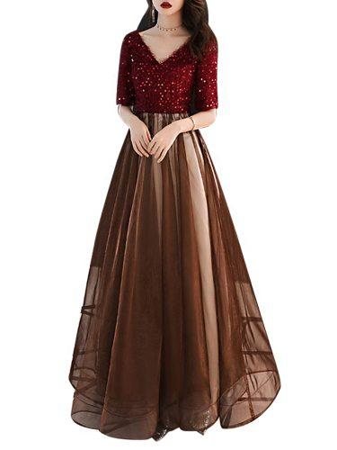 Women's Maxi Long Dress Half Sleeve Color Block Full