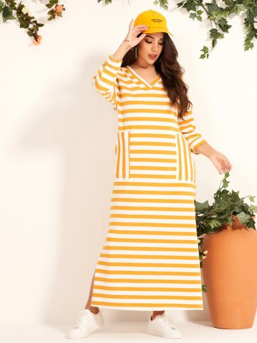 Women's Fashion Long Sleeve Mid Waist Shift Dress Split Maxi Striped V Neck Loose Basics