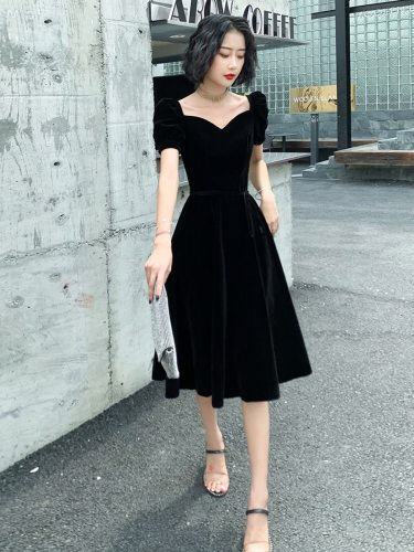 Women's Full Dress Solid Color Elegant Puff Sleeve Zipper Short Sleeve Midi Princess Dress Heart-shaped Mid Waist