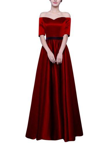Women's Evening Dress Solid Color Off Shoulder Sleeve Elegant Aline Belt Maxi Half Mid Waist Slash Neck