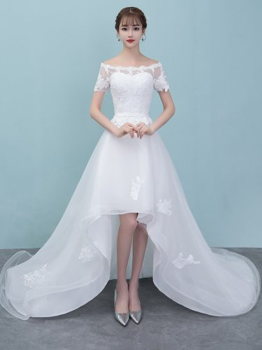 Before short and after long wedding dress bride princess dream little tail princess light wedding Maxi Mermaid Dress Slim Coming of Age Ceremony Lace
