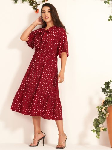 Women's Ruffle Heart Printed Floral Print Vintage Midi Short Sleeve Crew Neck A Line Dress Patchwork High Waist