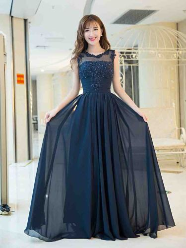 [Customer Made]Women's Full Dress Solid Color Wedding Sleeveless Crew Neck Slim Ball Gown Zipper Maxi Mid Waist