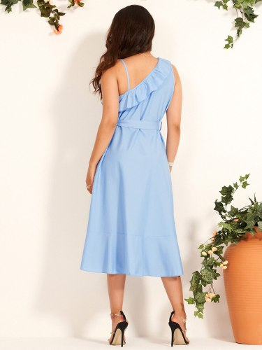 Women's Fashion Skew Collar Ruffles Solid Color Sleeveless High Waist Midi One Shoulder Celebrity&Elegant A Line Dress