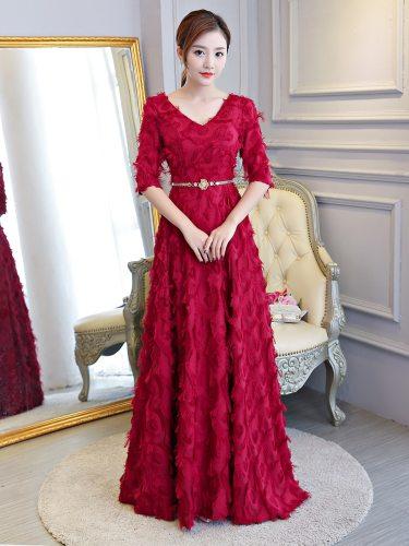Women's Plus Size Bridesmaid Dress Solid Color Sleeve Bow Long Mid Waist Maxi A Line Dress V Neck Slim Include Belt Half