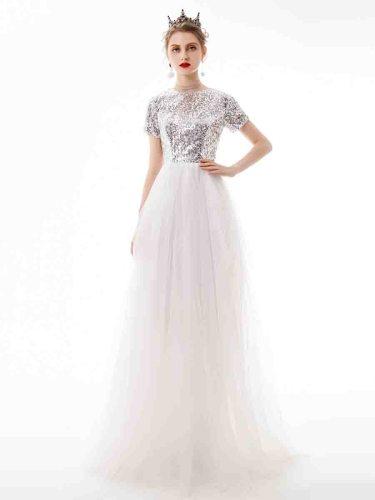 Women's Full Dress Crew Neck Fashion Long Ball Gown Slash Neck Maxi Slim Short Sleeve Zipper Mid Waist