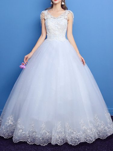 Women's Wedding Dress Solid Color Lace Embroidery V Neck Elegant Ball Gown Slim Sleeveless
