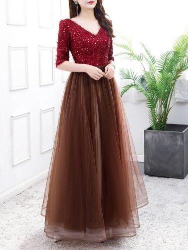 Women's Full Dress Patchwork Long Maxi V Neck High Waist Sequins Half Aline