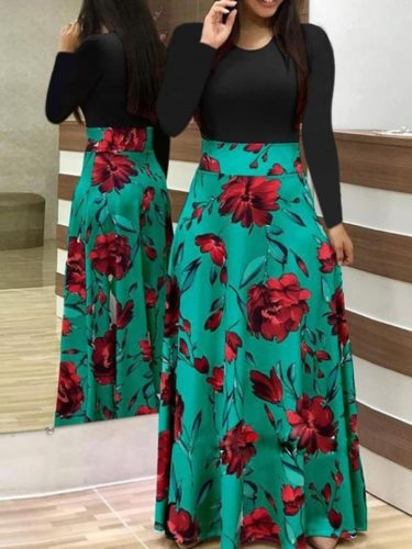 Women's A Line Dress Fashion Patchwork Long Floral Print Tunic Dress Mid Waist Long Sleeve Elegant Slim Crew Neck Maxi