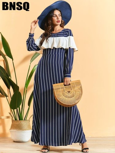 BNSQ Women's Striped A Line Dress Ruffles Patchwork Long Sleeve Simple High Waist Crew Neck Maxi