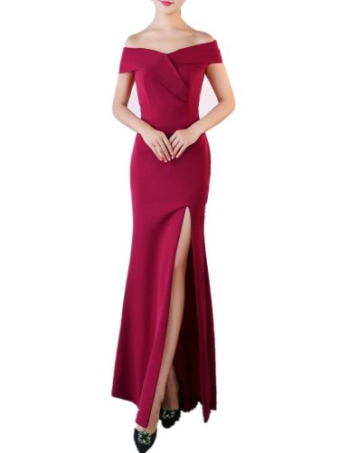 Women's Evening Dress Solid Color Elegant Off Shoulder Side Split Sexy Maxi Slim Sheath/Column
