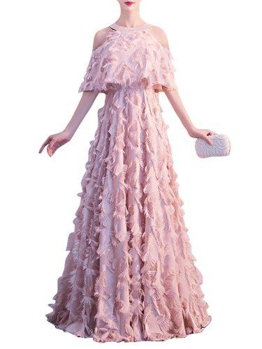 Women's Evening Dress Solid Color Hollow Shoulder Halter Neck Maxi Long Slim Sleeveless High Waist Princess