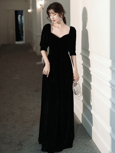 Women's Full Dress Fashion Solid Color Square Collar Sleeve Long Zipper A Line Dress Slim Half Heart-shaped Mid Waist Maxi