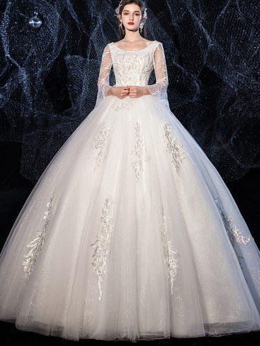 Women's Wedding Dress Backless Princess Dress Crew Neck Long Sleeve Maxi Slim Mid Waist Applique Cocktail Party